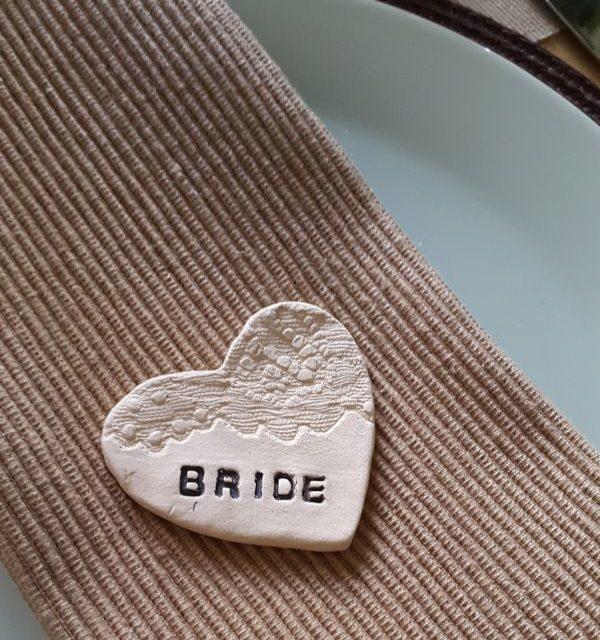 bride ceramic lace wedding favour