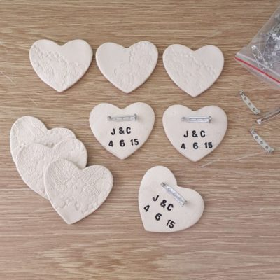 personalised ceramic brooch wedding favours