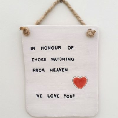 ceramic wedding plaque sign those watching from heaven