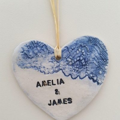 blue lace personalised ceramic heart
