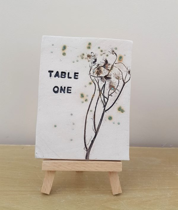 rustic daisies table number tile