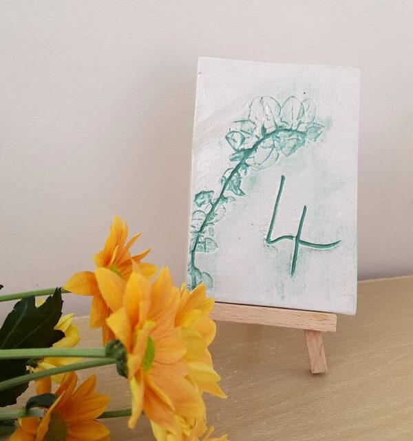 ceramic table number tile on easel