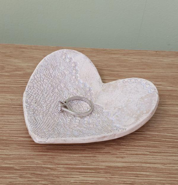 ivory lace heart dish