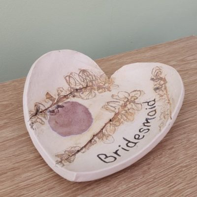 bridesmaid ceramic heart trinket dish