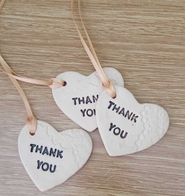 thank you ceramic wedding heart tokens