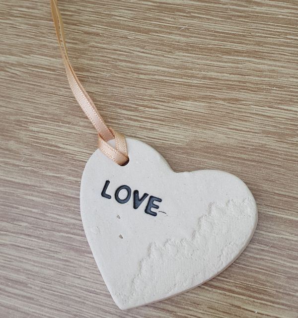 love wedding heart token with ribbon