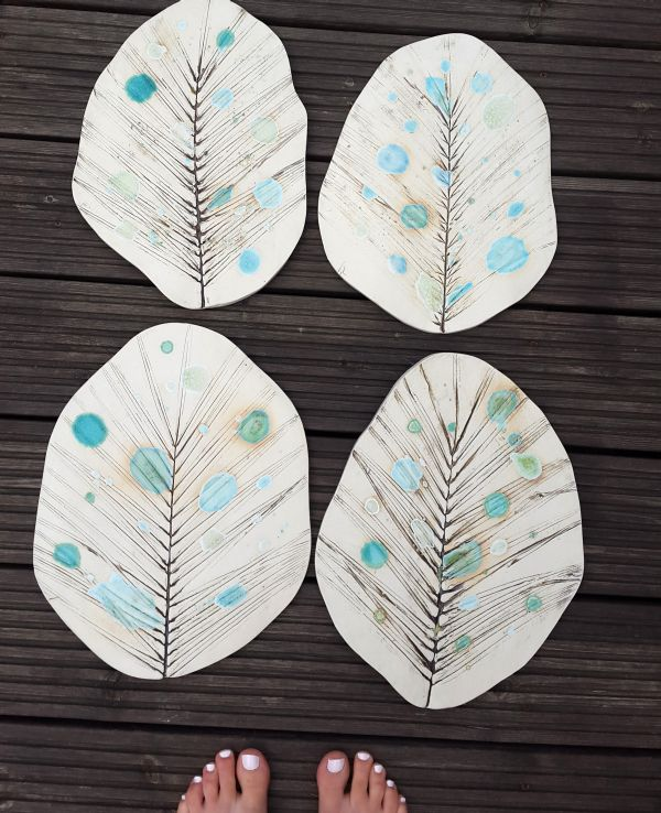Ceramic Stones Made : Ceramic leaf stepping stones charlotte hupfield ceramics