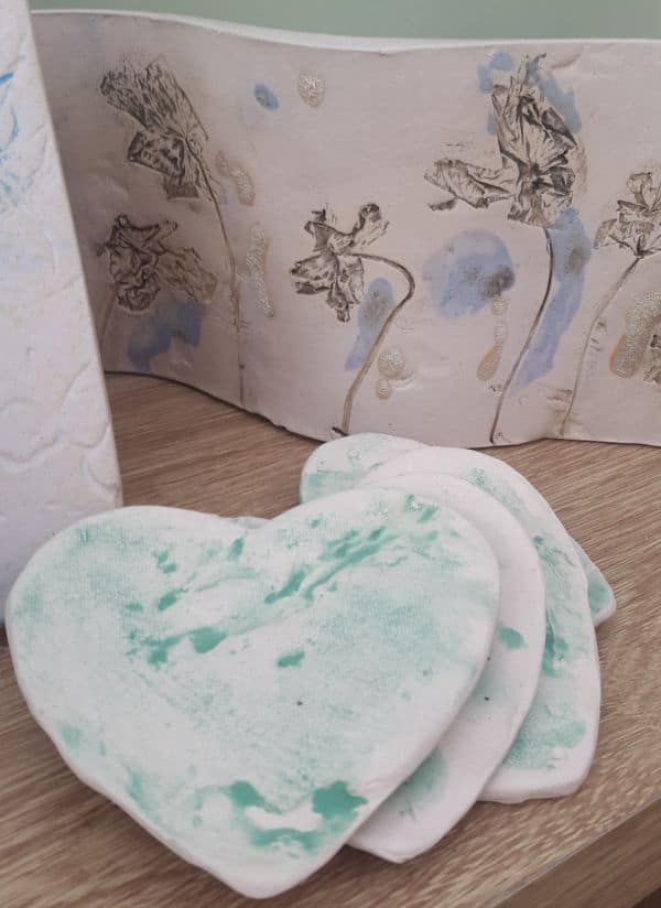 ceramic heart coasters