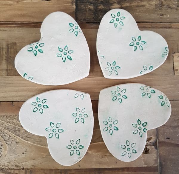 ceramic heart flower coasters