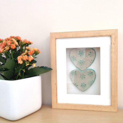 ceramic hearts in frame picture