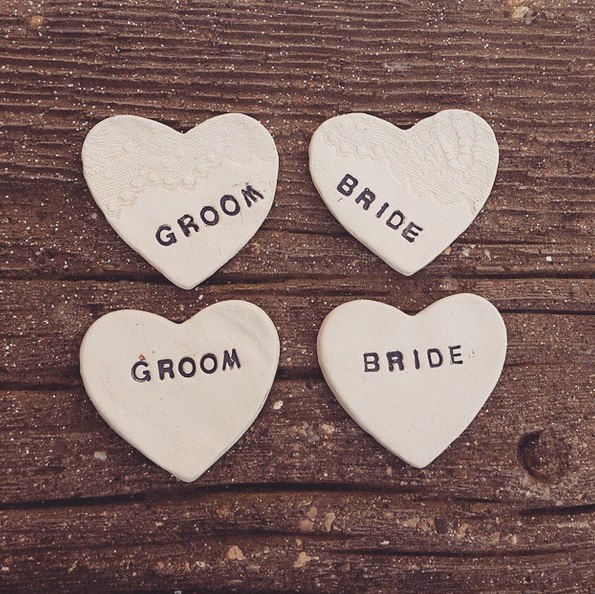 ceramic heart personalised wedding favours