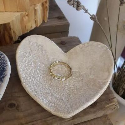 ivory ceramic wedding ring dish
