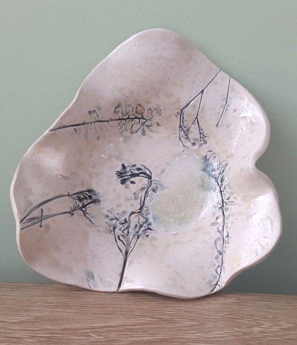 grey floral bowl