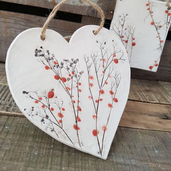 red berries ceramic heart