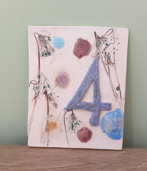 stoneware number sign plaque
