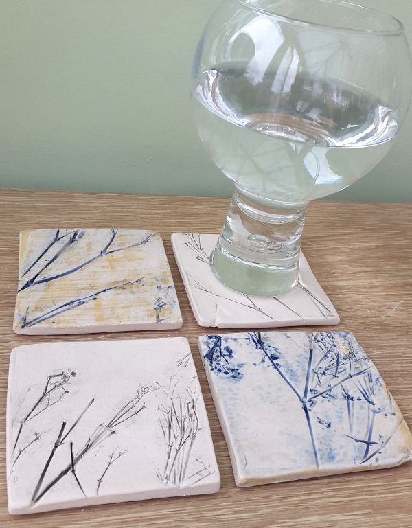 blue square ceramic coasters