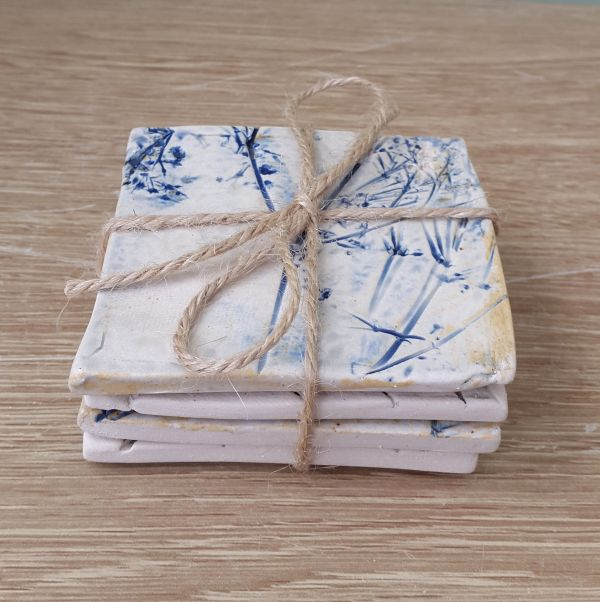 set of ceramic coasters gift