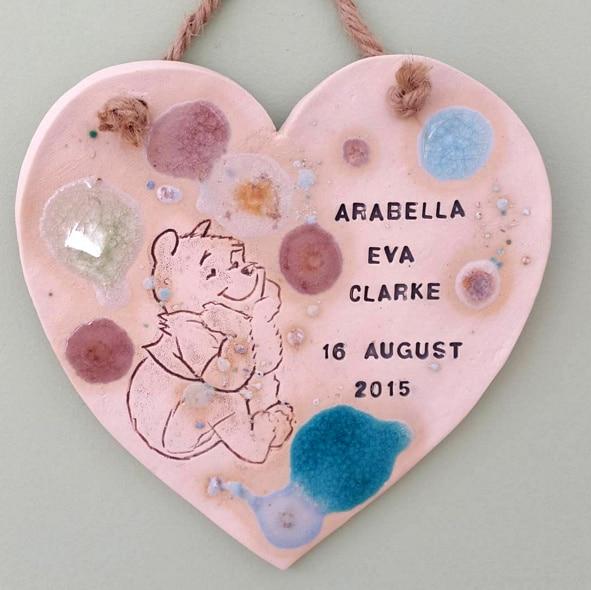 newborn baby personalised heart keepsake gift