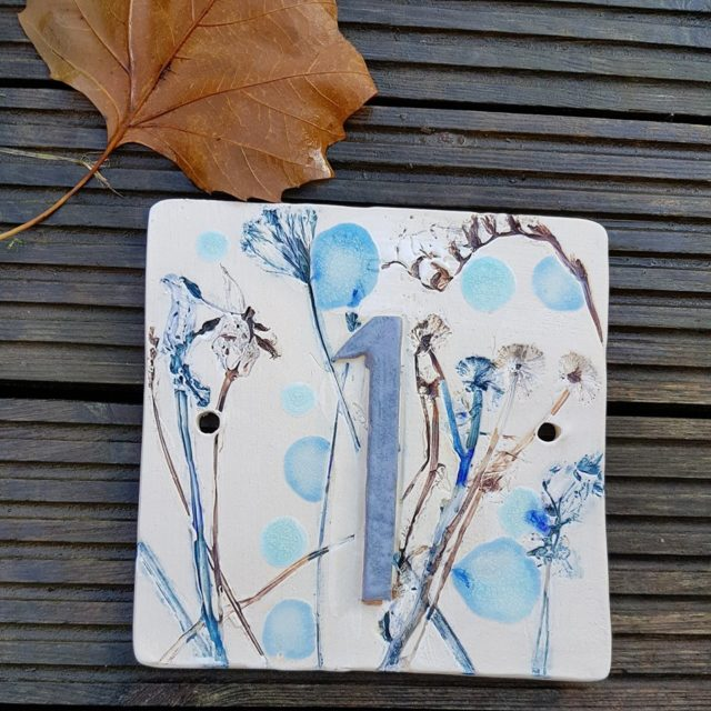 ceramic house number plaque sign handmade