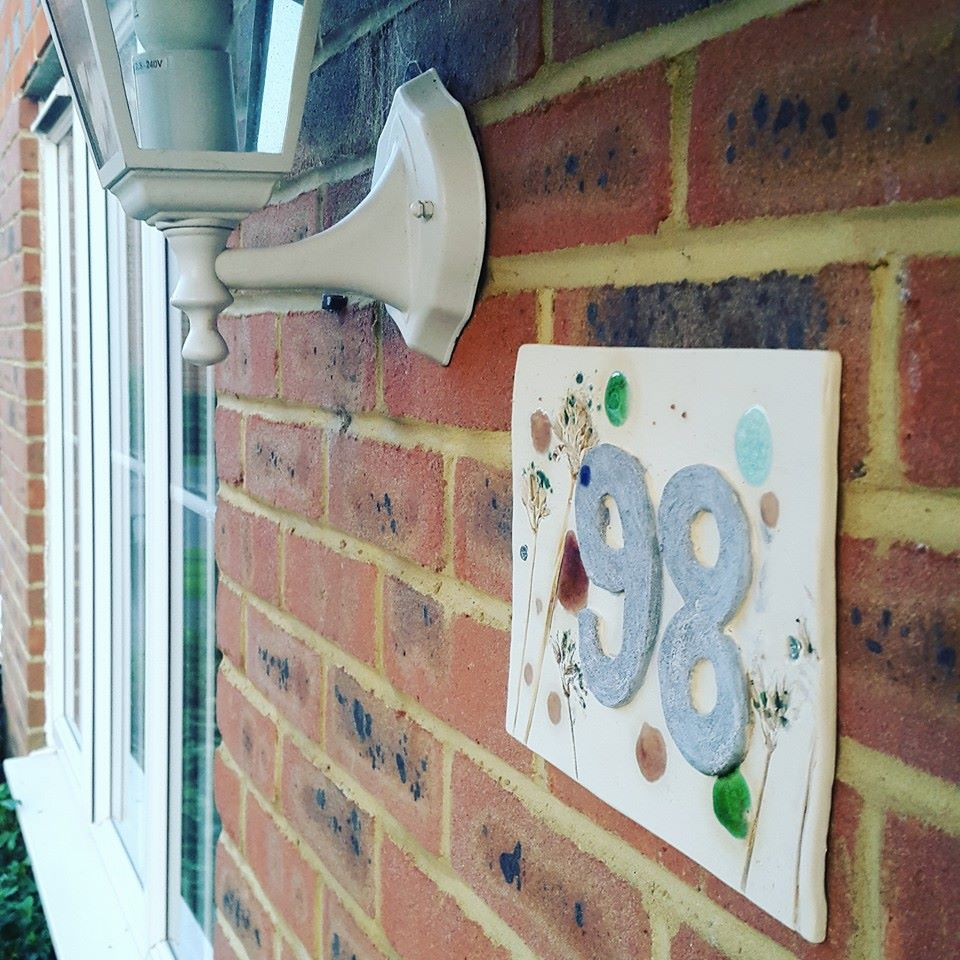 handmade ceramic house number tile