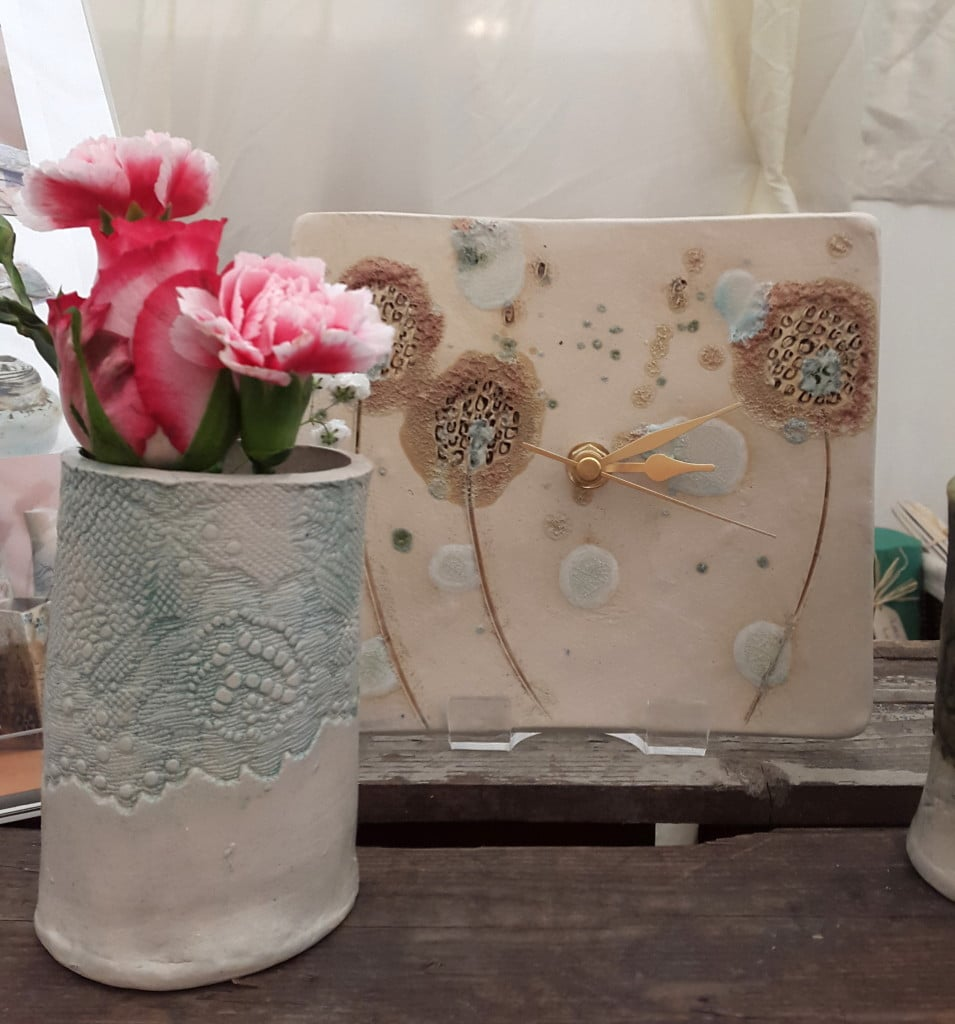 dandelions clock, lace bud vase