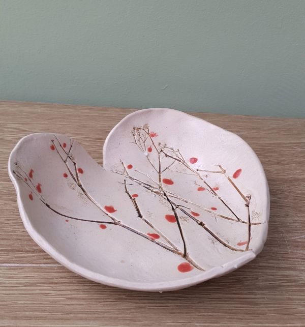 winter branches with berries ceramic heart dish