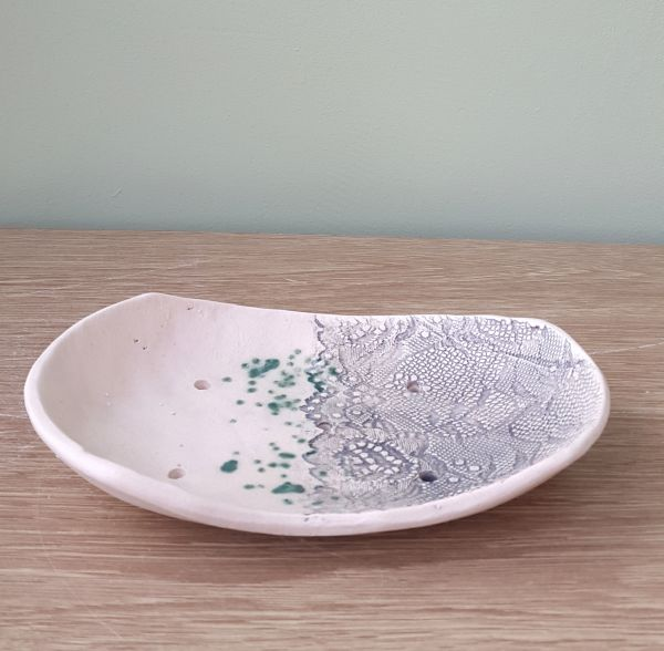 lace ceramic soap dish