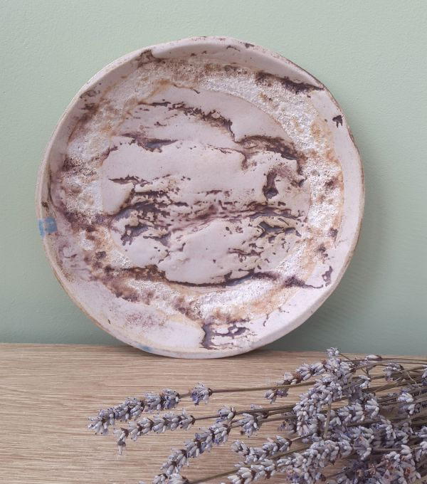 oak tree bark round ceramic plate