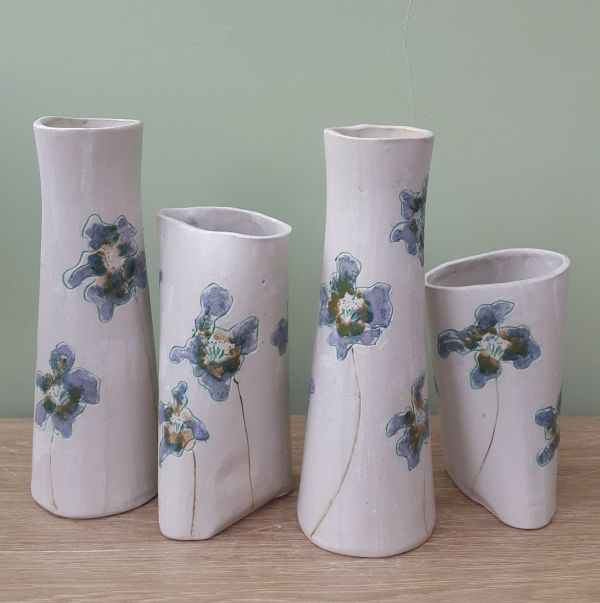lilac and mint flower vases