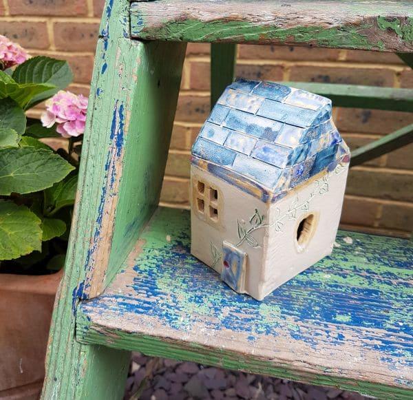 ceramic tea light house blue