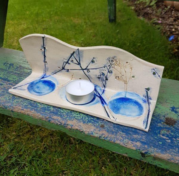 blue ceramic tea light holder