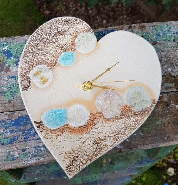 ceramic heart clock