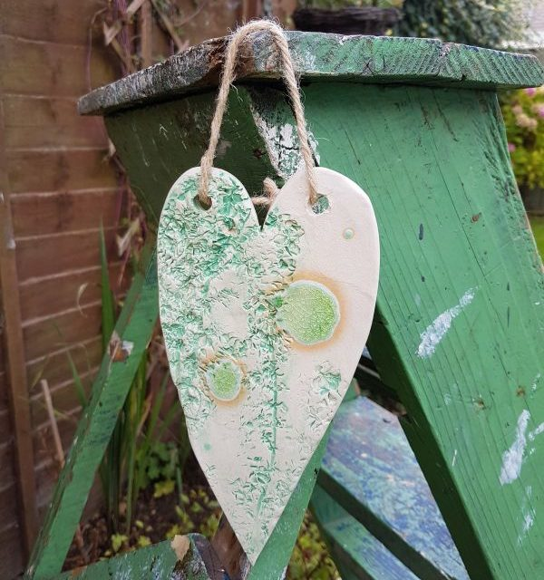 mint green ceramic heart decoration