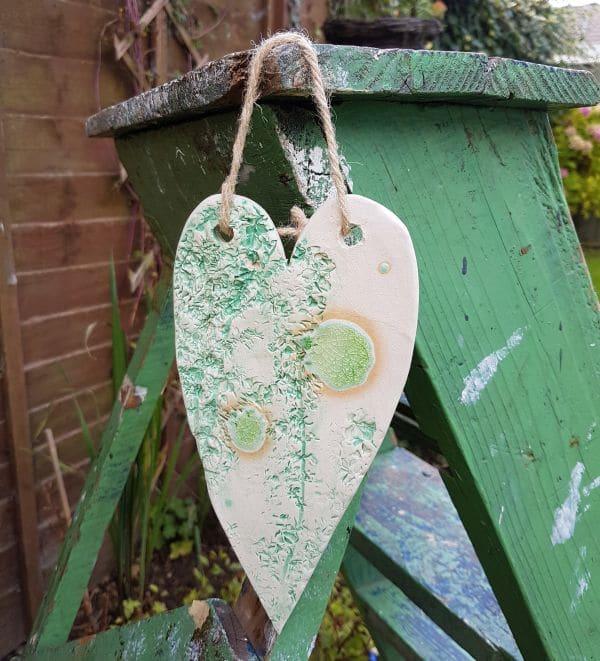 mint green ceramic heart decoration