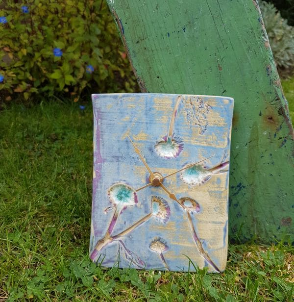 dandelion ceramic clock