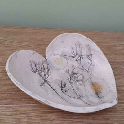 grey floral heart dish