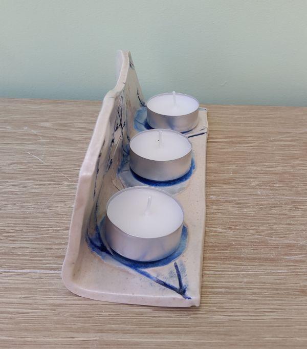 Blue Meadow Ceramic Tea Light Holder Charlotte Hupfield