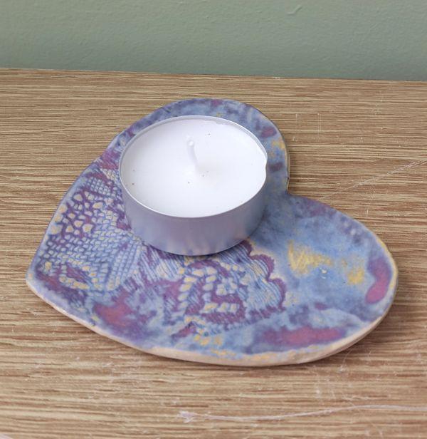 lace heart tea light holder