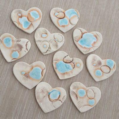 seaside themed ceramic wedding heart favours