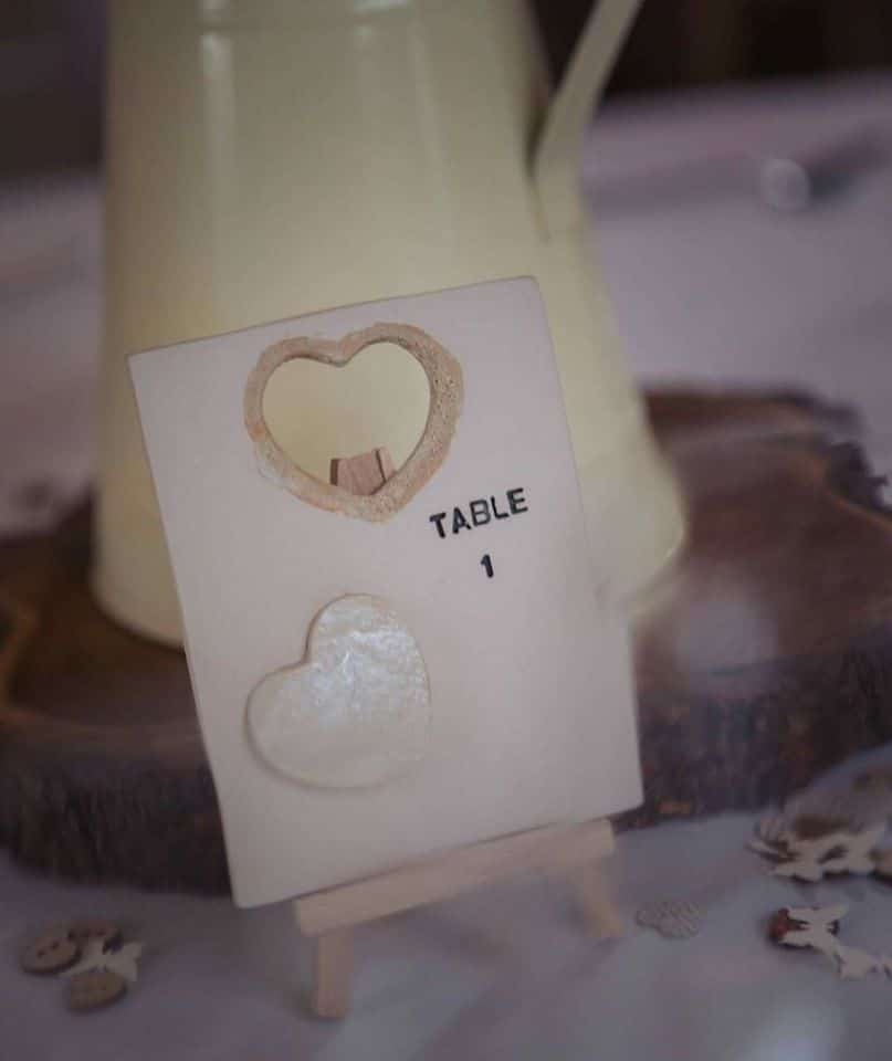 ceramic table number heart