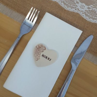 rustic lace wedding heart favour