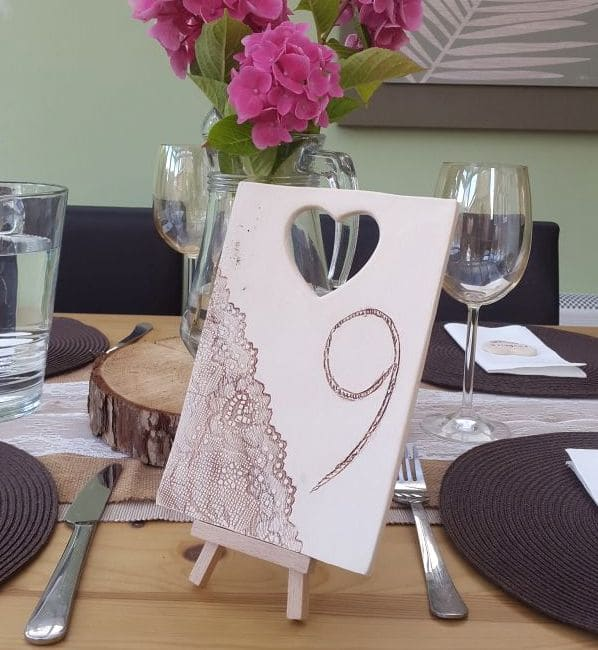 rustic ceramic wedding table number tile
