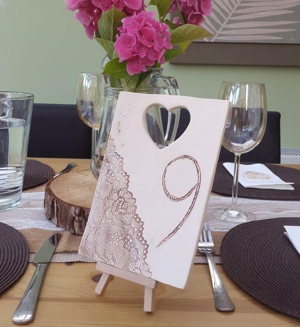 rustic ceramic wedding table number tile