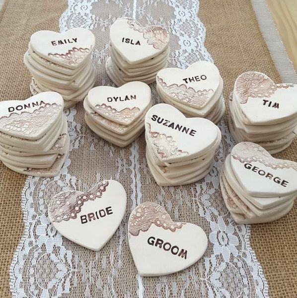 Personalised Ceramic Heart Favours
