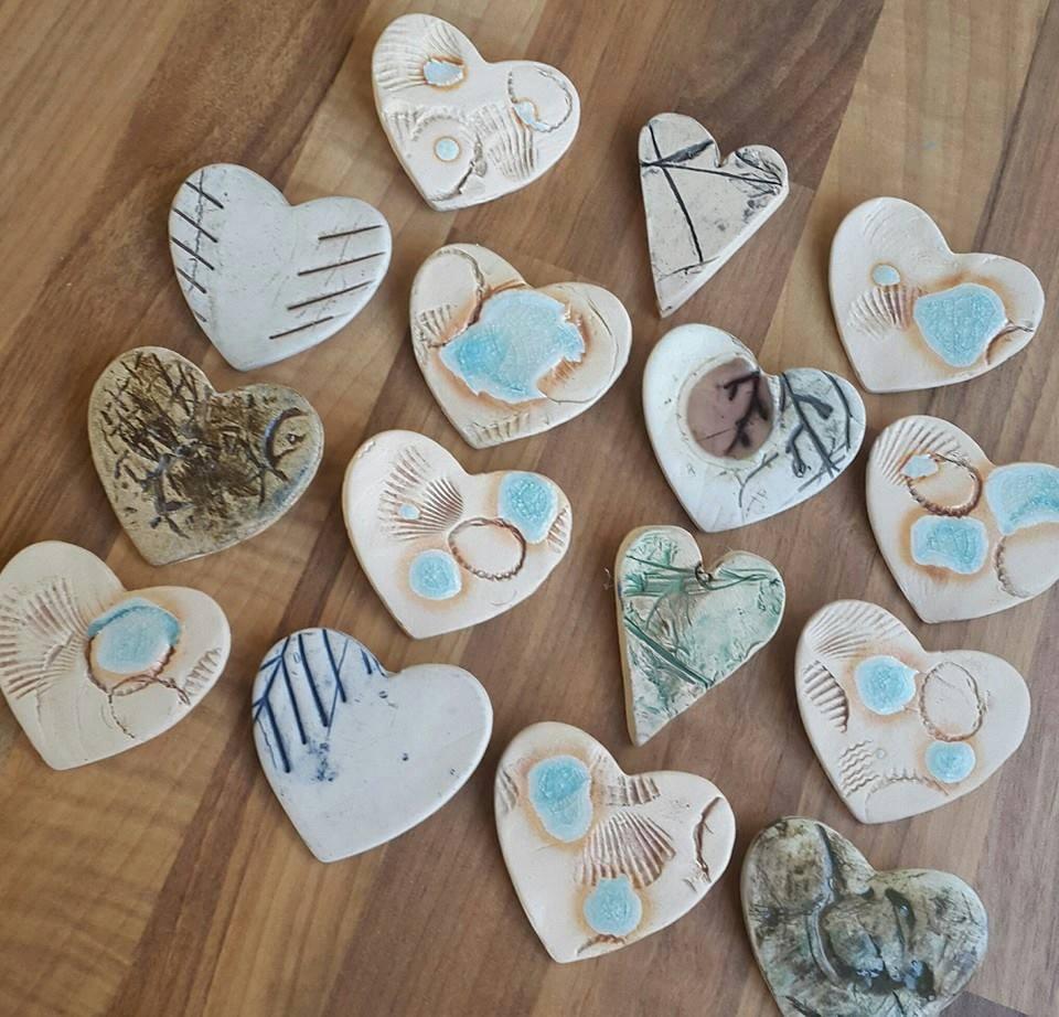 ceramic heart brooches
