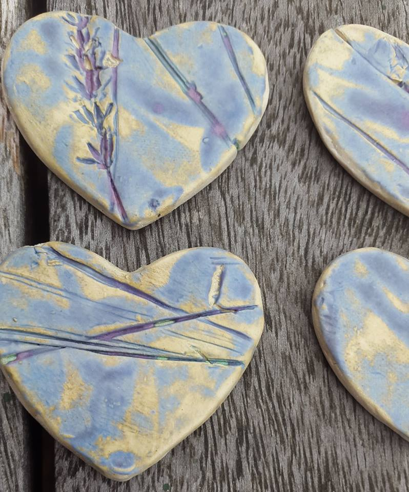 handmade organic ceramic heart brooches