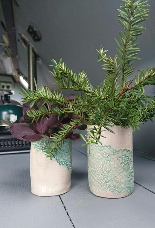 mint green lace vases