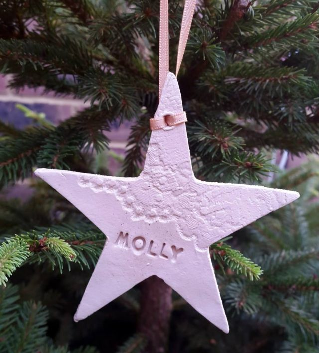 personalised white ceramic star