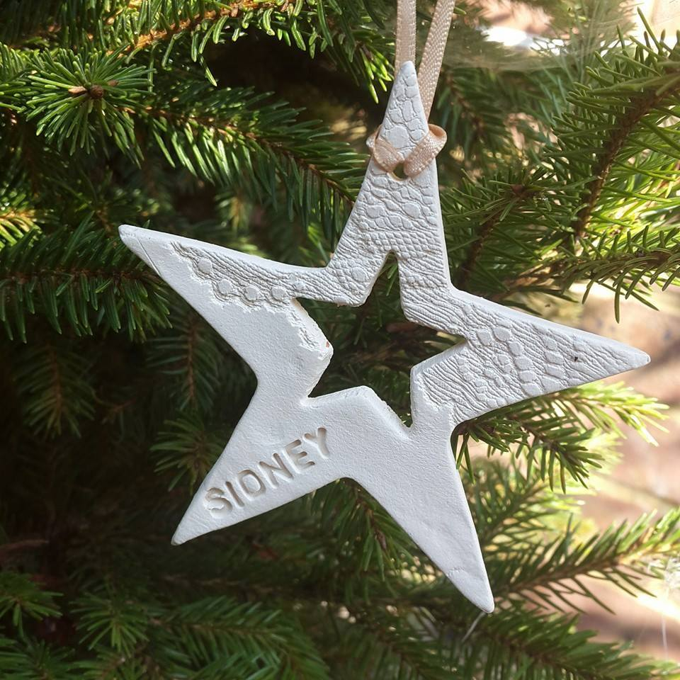 Personalised Ceramic Star Hanging Decoration