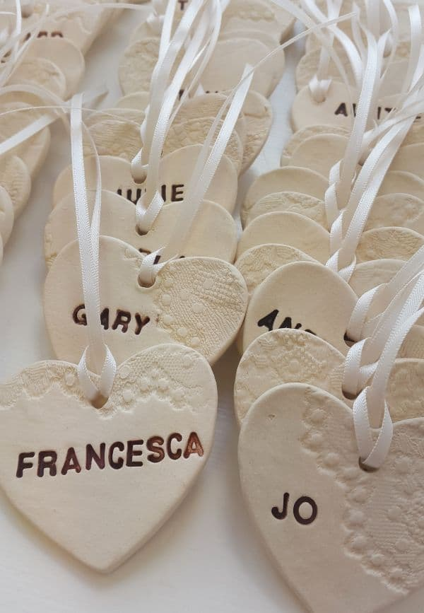 Personalised Lace Heart Wedding Favours